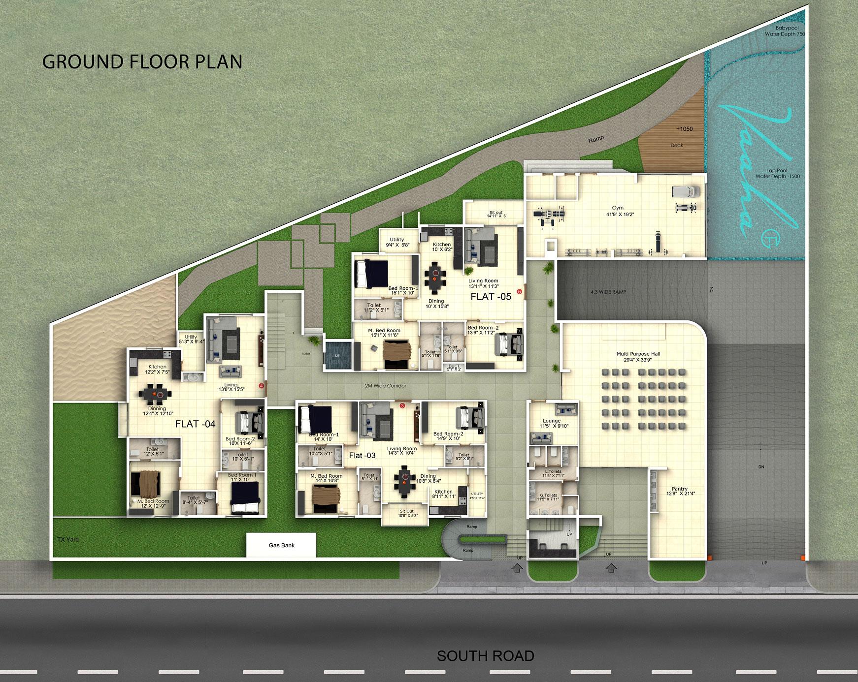 Vaaha Floor Plans GoldFish Abode – Swimming Pool Site Plan